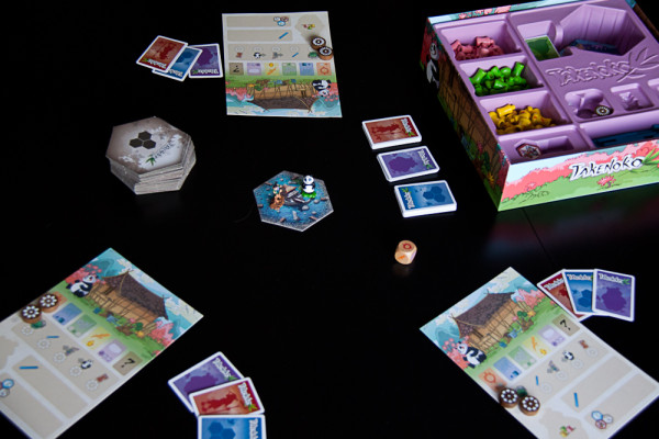 A three-player game of Takenoko all ready to go.