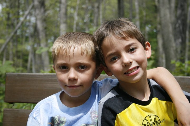 Dylan and Aidan on an outdoor adventure at Highbanks Metropark, Summer 2011