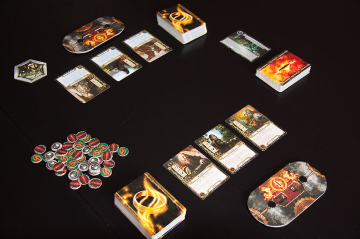 A two-player game of LotR LCG all set up.