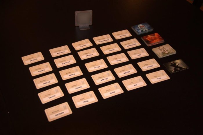 A game of codenames all set up to go. Ready, set, spy!